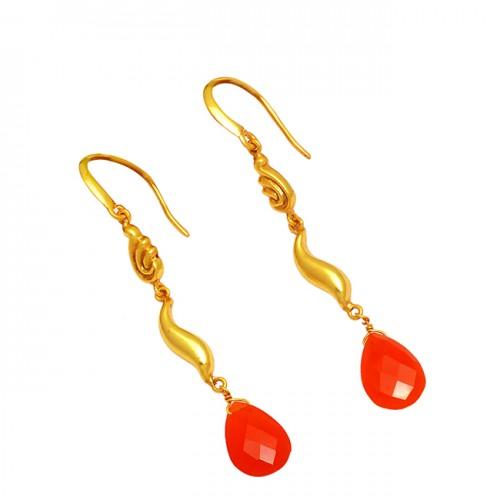 Carnelian Pear Shape Gemstone 925 Sterling Silver Gold Plated Dangle Earrings