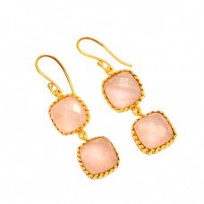 Rose Quartz Cushion Shape Gemstone 925 Sterling Silver Gold Plated Dangle Earrings
