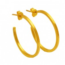 Fashionable Designer Plain 925 Sterling Silver Gold Plated Handmade Hoop Earrings
