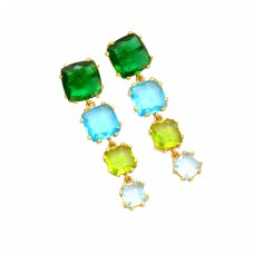 Cushion Shape Multi Color Gemstone 925 Sterling Silver Gold Plated Stud Earrings