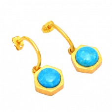 Round Shape Turquoise Gemstone 925 Sterling Silver Gold Plated Stud Earrings