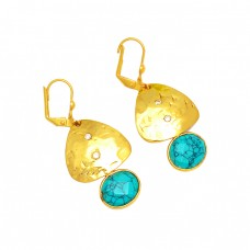 Oval Shape Turquoise Gemstone 925 Sterling Silver Gold Plated Clip-On Earrings