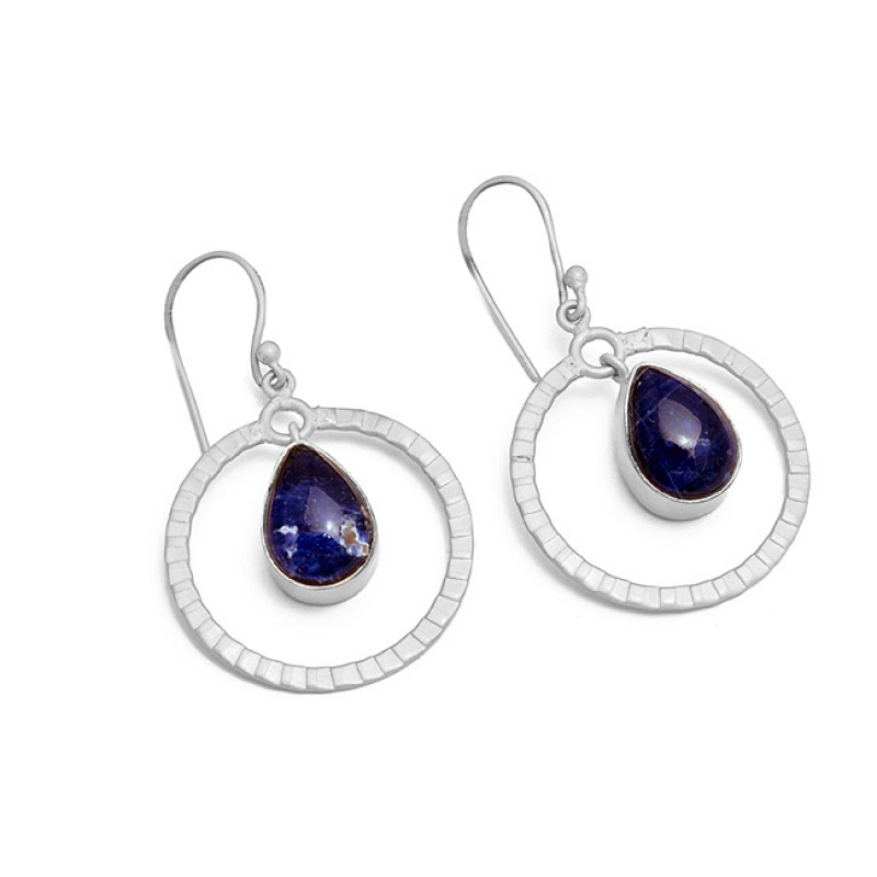 Pear Cabochon Sodalite Gemstone 925 Sterling Silver Gold Plated Dangle Earrings