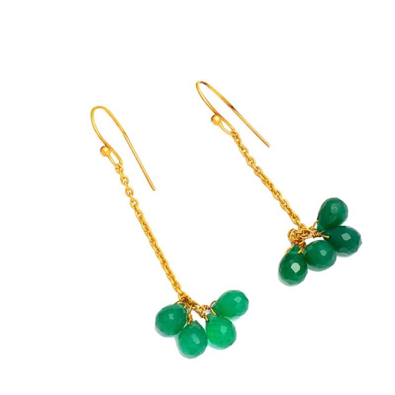 Pear Drops Green Onyx Gemstone 925 Sterling Silver Gold Plated Dangle Chain Earrings