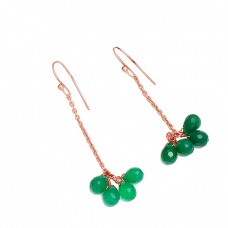 Pear Drops Green Onyx Gemstone 925 Sterling Silver Gold Plated Dangle Chain Earrings