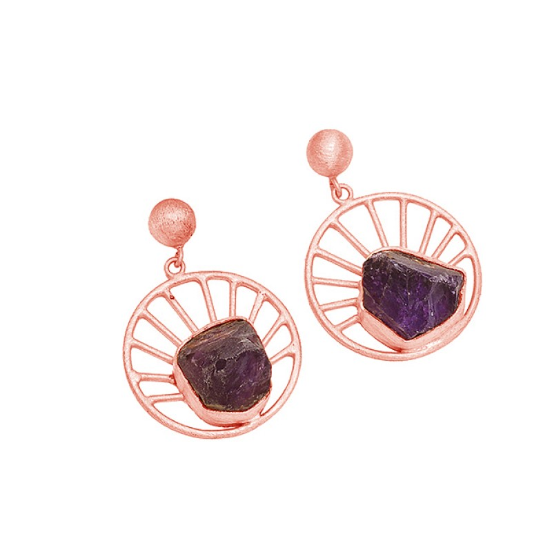 925 Sterling Silver Rough Gemstone 925 Sterling Silver Gold Plated Dangle Stud Earrings