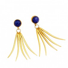 925 Sterling Silver Round Shape Sapphire Gemstone Gold Plated Stud Earrings