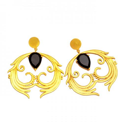 925 Sterling Silver Pear Shape Black Onyx Gemstone Gold Plated Stud Earrings