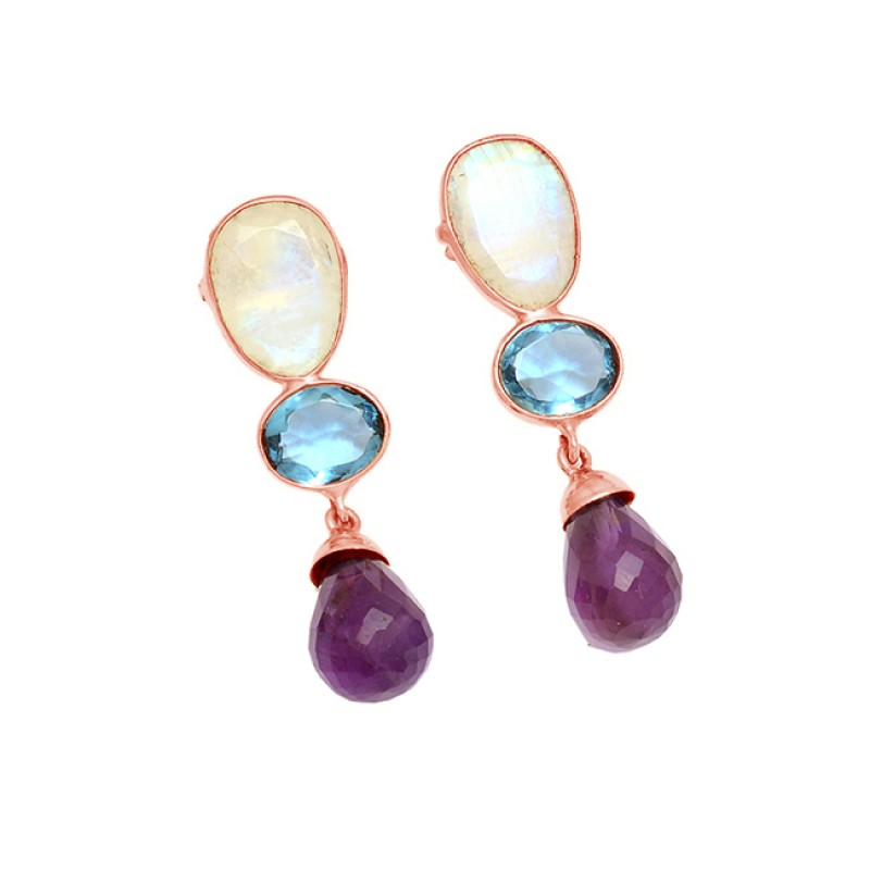 925 Sterling Silver Multi Color Gemstone Gold Plated Stud Dangle Earrings