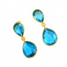 Pear Shape Blue Quartz Gemstone 925 Sterling Silver Gold Plated Stud Dangle Earrings