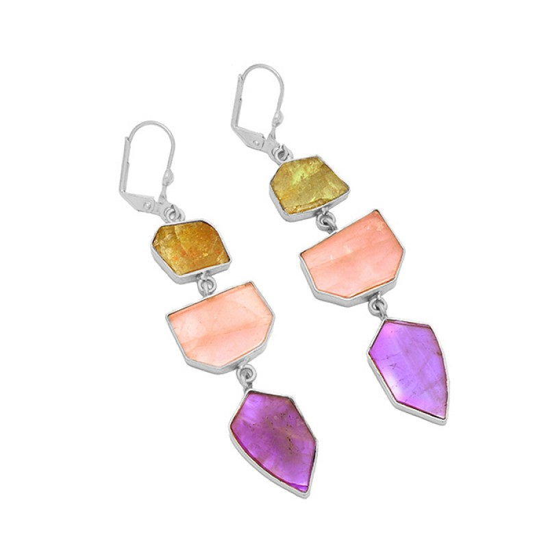 Peridot Amethyst Rose Quartz Gemstone 925 Silver Gold Plated Clip-On Earrings