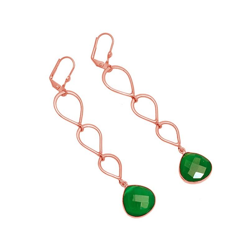 925 Sterling Silver Green Onyx Gemstone Gold Plated Dangle Clip-On Dangle Earrings