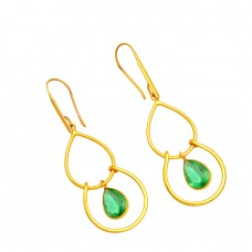 925 Sterling Silver Pear Shape Green Quartz Gemstone Gold Plated Dangle Earrings