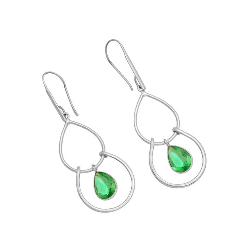 925 Sterling Silver Pear Shape Green Quartz Gemstone Gold Plated Dangle Earrings