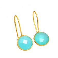 925 Sterling Silver Chalcedony Gemstone Fixed Ear Wire Gold Plated Earrings