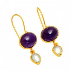 Amethyst Pearl Gemstone 925 Sterling Silver Gold Plated Handmade Earrings