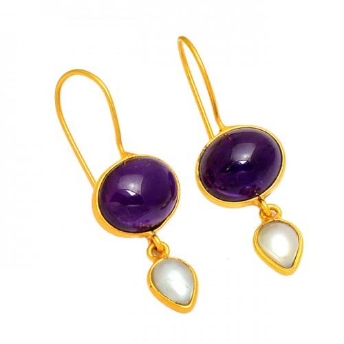 Amethyst Pearl Gemstone 925 Sterling Silver Gold Plated Handmade Earrings