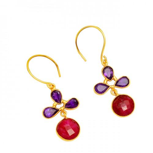 925 Sterling Silver Amethyst Ruby Gemstone Gold Plated Hoop Dangle Earrings