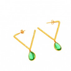 925 Sterling Silver Green Quartz Gemstone Gold Plated Dangle Hoop Earrings