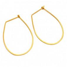 Light Weight Designer Plain 925 Sterling Silver Gold Plated Hoop Earrings