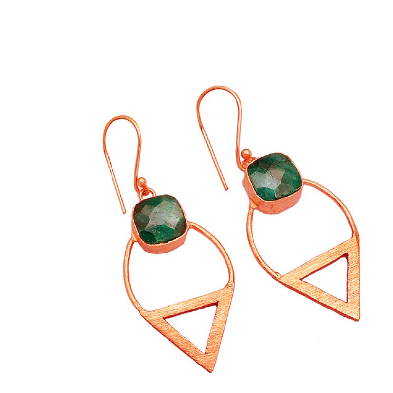 925 Sterling Silver Emerald Cushion Shape Gemstone Rose Gold Plated Dangle Earrings