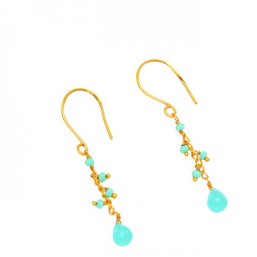 Roundel Beads Pear Drops Chalcedony Gemstone 925 Silver Gold Plated Earrings