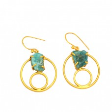 925 Sterling Silver Aquamarine Rough Gemstone Gold Plated Handmade Earrings