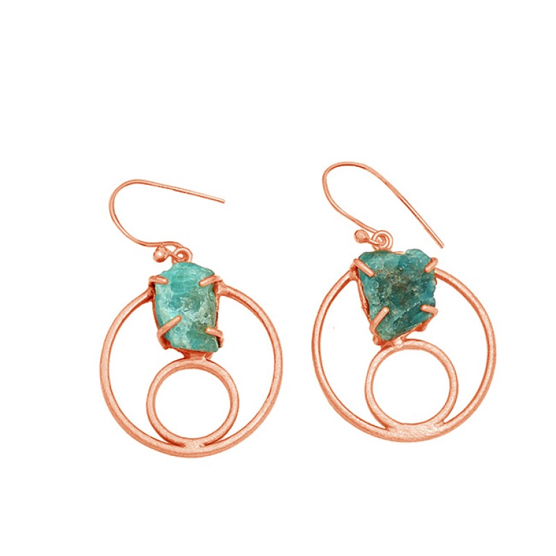 925 Sterling Silver Aquamarine Rough Gemstone Gold Plated Handmade Earrings
