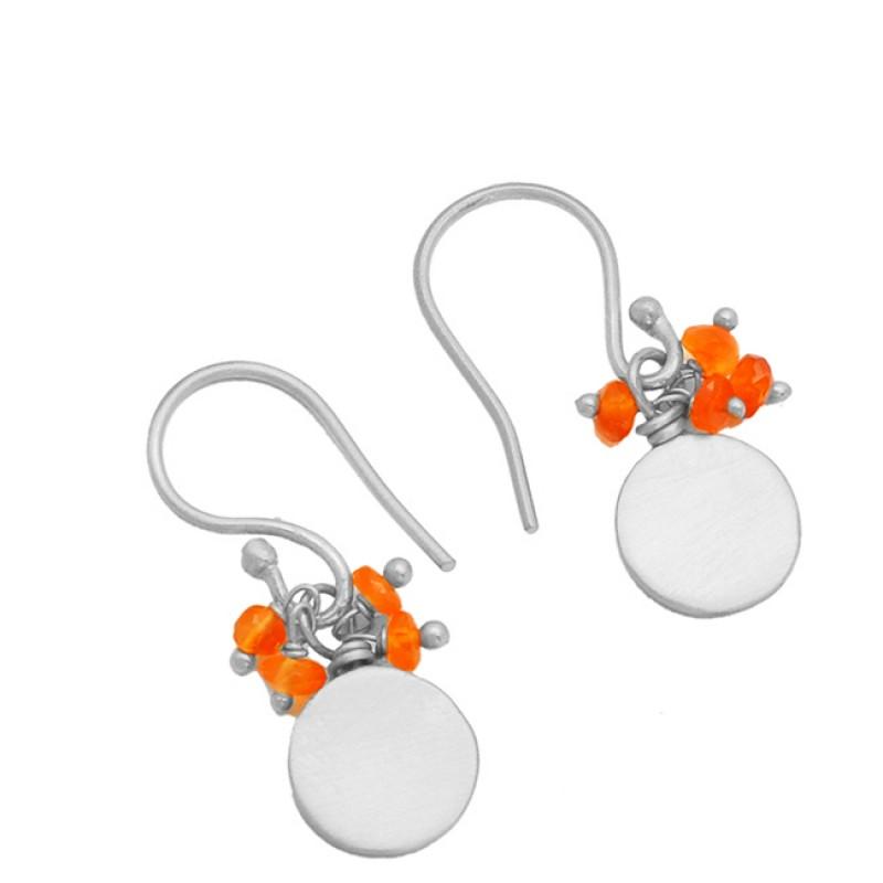 Carnelian Roundel Beads Gemstone 925 Sterling Silver Gold Plated Dangle Earrings