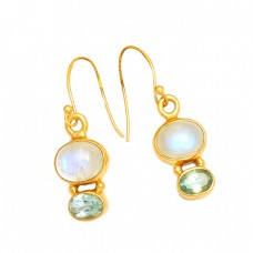 Moonstone Blue Topaz Gemstone 925 Sterling Silver Gold Plated Dangle Earrings