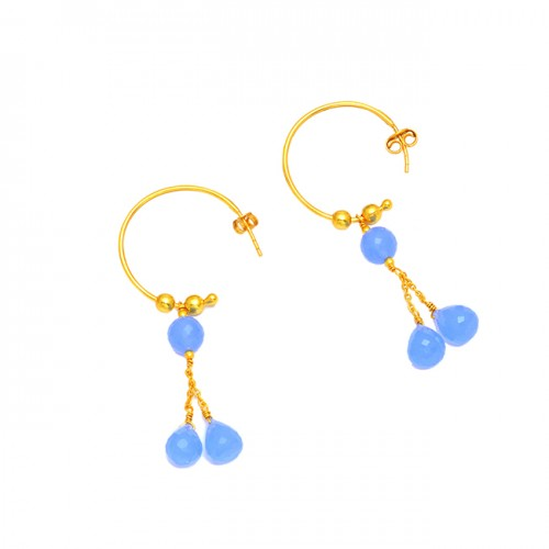 925 Sterling Silver Blue Chalcedony Gemstone Gold Plated Hoop Dangle Earrings