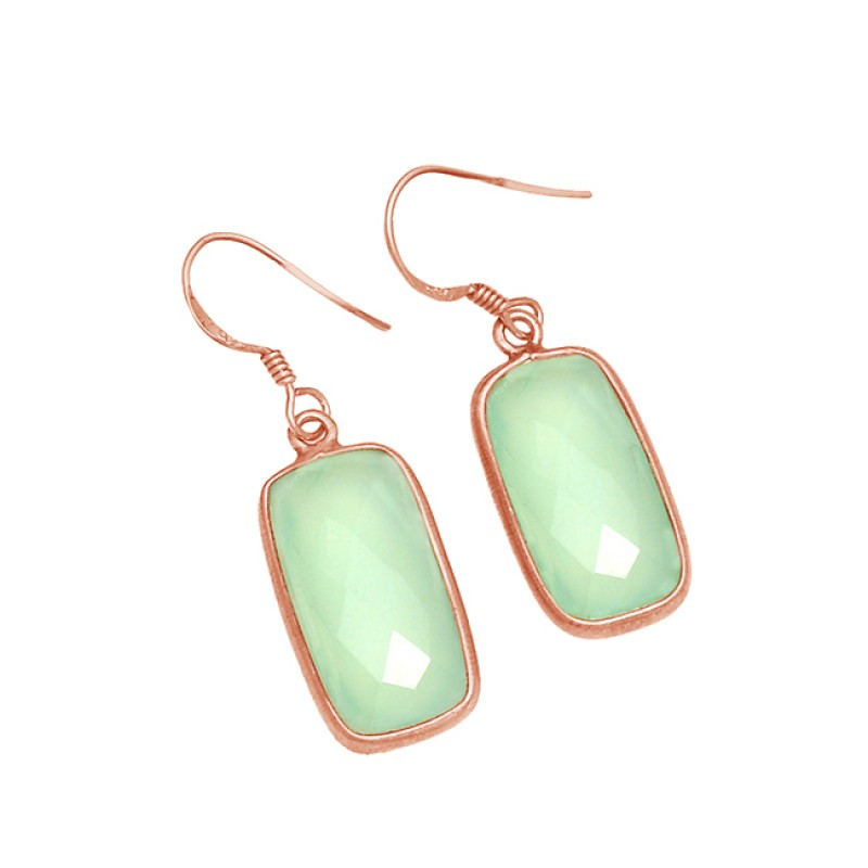 Cushion Shape Aqua Chalcedony Gemstone 925 Sterling Silver Gold Plated Earrings