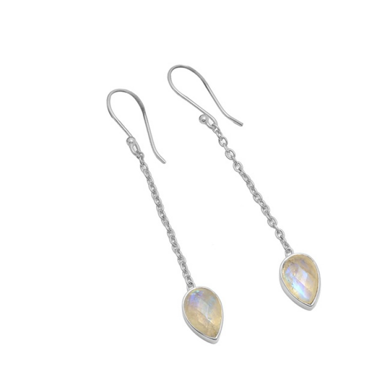 925 Sterling Silver Moonstone Pear Shape Gemstone Gold Plated Chain Dangle Earrings
