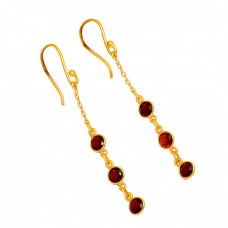 Bezel Setting Garnet Round Shape Gemstone 925 Silver Gold Plated Dangle Earrings