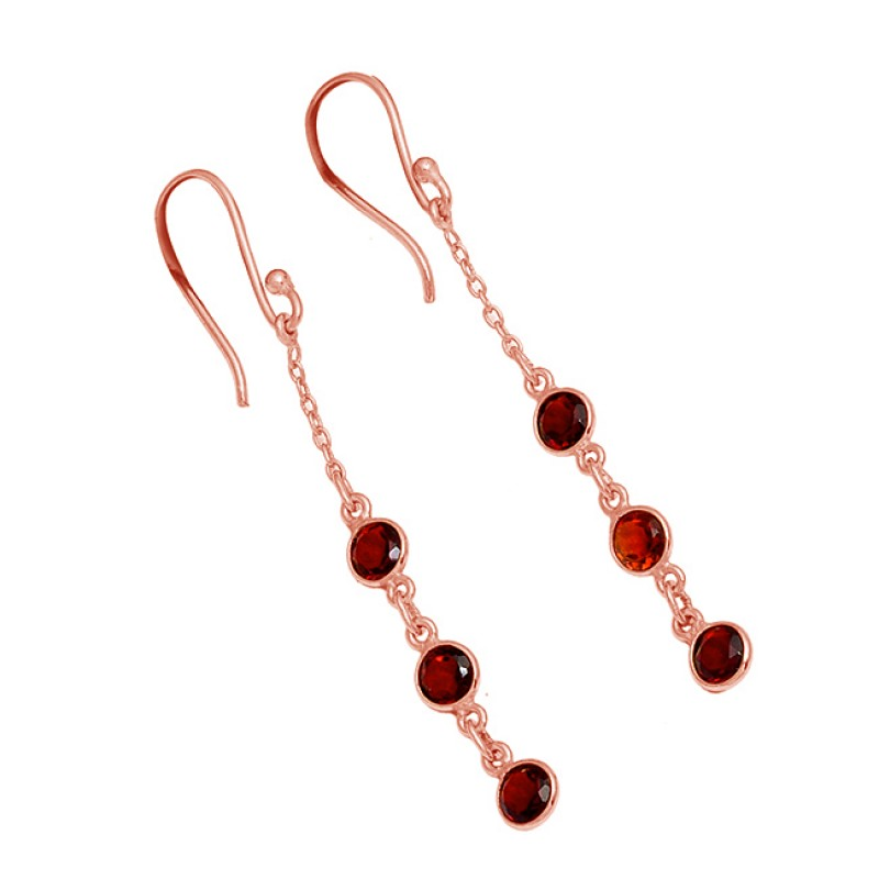 Bezel Setting Garnet Round Shape Gemstone 925 Silver Gold Plated Dangle Earrings