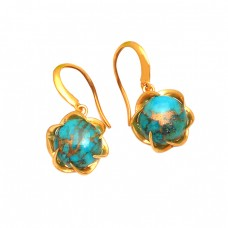 925 Sterling Silver Blue Copper Turquoise Gemstone Gold Plated Earrings