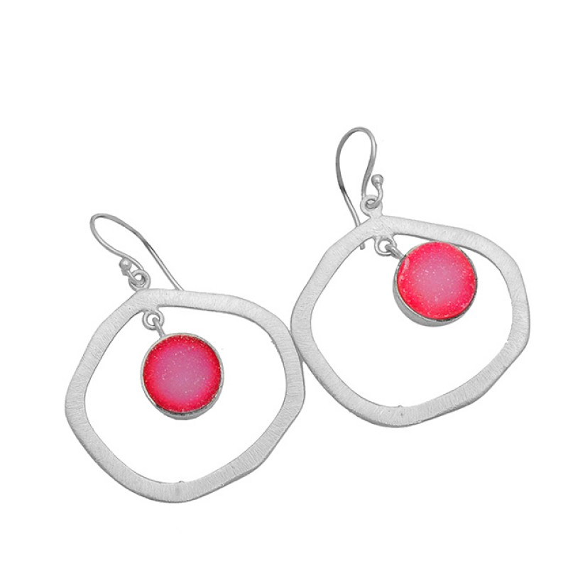 Pink Druzy Round Shape Gemstone 925 Sterling Silver Gold Plated Dangle Earrings