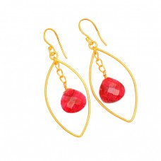Ruby Heart Shape Gemstone 925 Sterling Silver Gold Plated Dangle Earrings