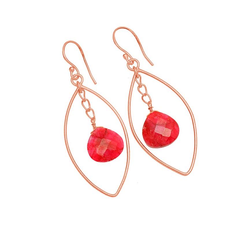 Ruby Heart Shape Gemstone 925 Sterling Silver Gold Plated Dangle Earrings