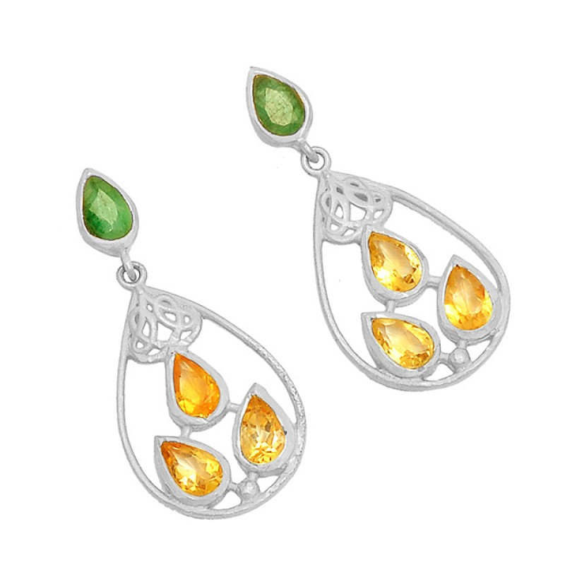 Emerald Citrine Gemstone 925 Sterling Silver Gold Plated Dangle Stud Earrings
