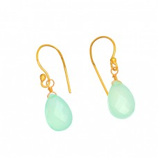 Green Quartz Pear Drops Shape Gemstone 925 Sterling Silver Gold Plated Earrings