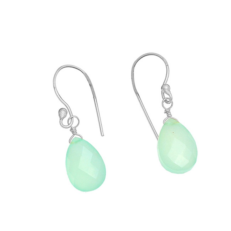 Green Quartz Pear Drops Shape Gemstone 925 Sterling Silver Gold Plated Earrings