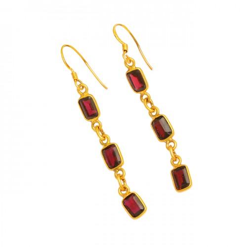 Garnet Octagon Shape Gemstone 925 Sterling Silver Gold Plated Dangle Earrings