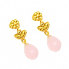 Pink Quartz Pear Drops Shape Gemstone 925 Sterling Silver Gold Plated Dangle Earrings