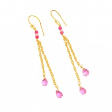 925 Sterling Silver Pink Quartz Gemstone Gold Plated Handmade Chain Earrings