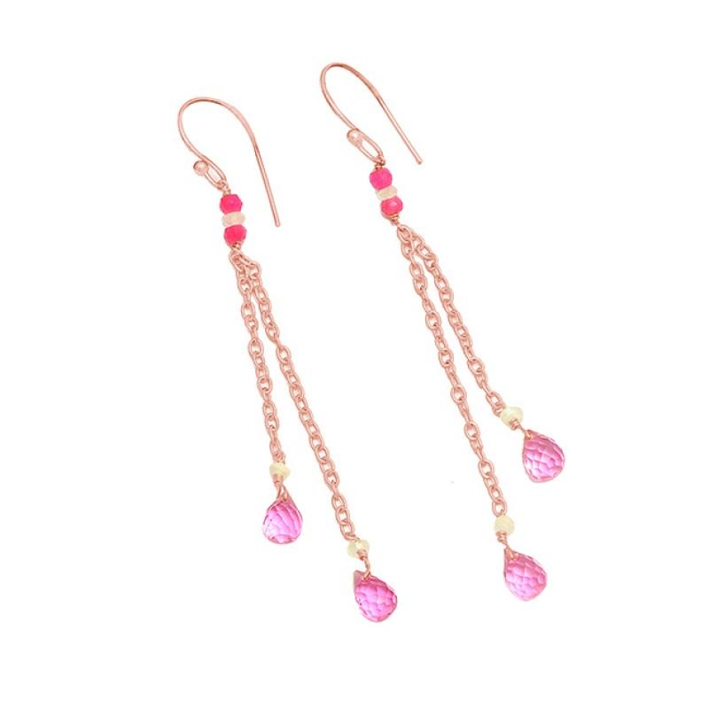 925 Sterling Silver Pink Quartz Gemstone Gold Plated Handmade Chain Earrings