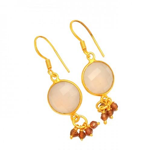 Rose Chalcedony Garnet Gemstone 925 Sterling Silver Gold Plated Dangle Earrings