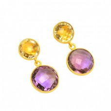 Bezel Setting Amethyst Citrine Gemstone 925 Sterling Silver Gold Plated Stud Earrings