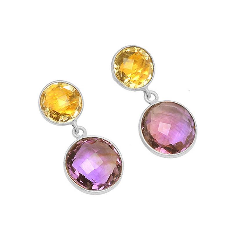Bezel Setting Amethyst Citrine Gemstone 925 Sterling Silver Gold Plated Stud Earrings