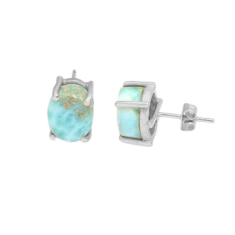 Oval Shape Larimar Gemstone 925 Sterling Silver Gold Plated Stud Earrings